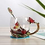 Heliansheng Tazza smaltata in stile europeo creativa con confezione regalo in tazza color smalto regalo con coperchio manico - Confezione regalo A86