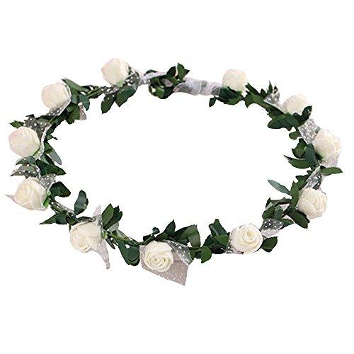 Bodhi2000 Rose Flower Wreath Headband Floral Crown Garland Halo for Wedding