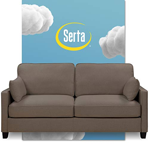 Serta Nina Modern Fabric Upholstery Sofa Collection Padded Shelter Arms, Solid Wood Legs, Couch for Living Room, Track, Ash Gray