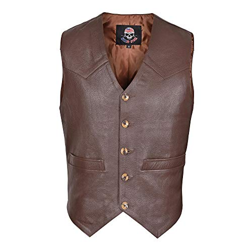 WICKED STOCK Men's Full Grain Brown Leather Vest Western Style Motorcycle Fashion V117