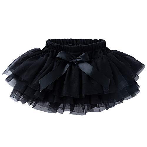 Anbaby Baby Girls Soft Tutu Skirt Toddler Ruffled Pants Diaper Cover Black 12-24M