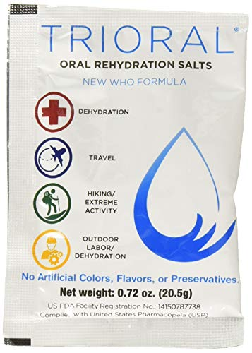 TRIORAL - Oral Rehydration Salts ORS (15, One Liter Packets Box) World Health Organization (WHO) New Formula for Food Poisoning, Hangovers, Diarrhea, Electrolyte Replacement
