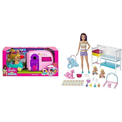 Mattel Barbie Chelsea Muñeca Y Su Caravana, con Perrito Y Accesorios ( Fxg90) + Skipper Hora De La Siesta, Muñeca Canguro con Bebés Y Accesorios, Regalo para Niñas Y Niños 3-9 Años ( Gfl38)