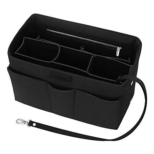 Taschenorganizer für Frauen Handtasche Handtaschen Organizer Handtaschenordner 2 in1 Filz Geldbörse Organizer Einsatz mit Innentasche mit Reißverschluss (schwarz, 27cm x 15cm x 16cm)