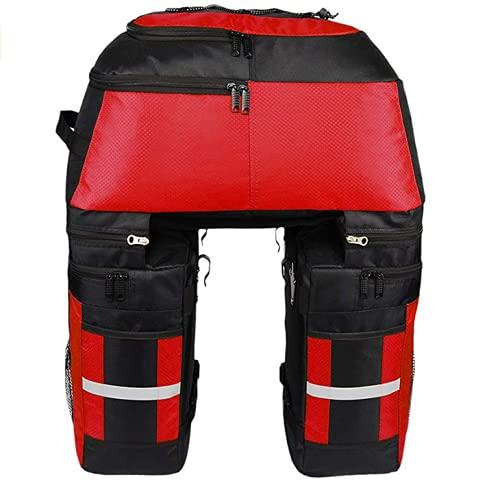 Kayboo 70L MTB Bike wasserdichte 3-in-1-Fahrradtasche hinten Packtaschen Fahrradträgertasche mit Regenschutz (Rot)