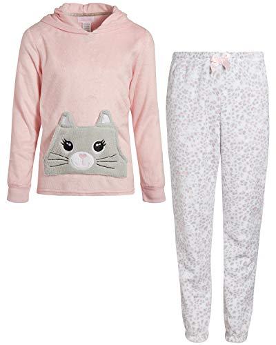 Rene Rofe Girl's 2-Piece Coral Fleece Character Pajama Pant Set with Hoodie (Cat, 14/16)'