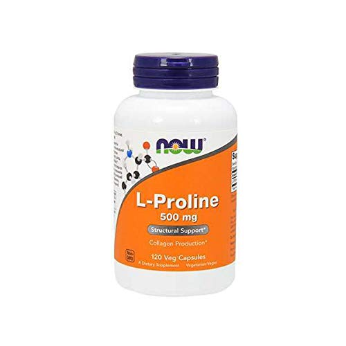 NOW Supplements, L-Proline 500 mg, Collagen Production*, Structural Support*, 120 Veg Capsules