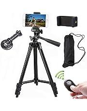 Camera statief 102 cm aluminium smartphone statief met mobiele telefoon houder en Bluetooth afstandsbediening mobiele telefoon statief voor iPhone Samsung en camera