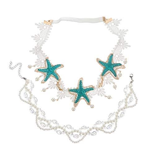Minkissy Diadema de Estrella de Mar de Sirena 2Pcs Diademas de Estrella de Mar Bohemia Boda Playa Sirena Diadema Collar Joyería para El Cabello Disfraz de Sirena para Mujeres Niñas