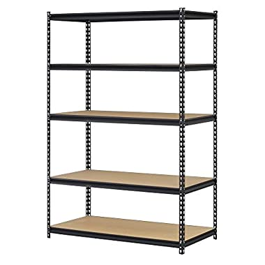 Edsal UR245AZ-BLK Steel Storage Rack, 5 Adjustable Shelves, 4000 lb. Capacity, 72  Height x 48  Width x 24  Depth, Black (2 Pack)