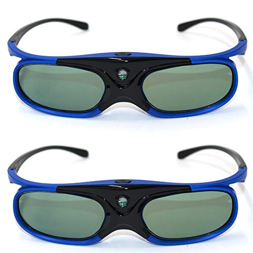 RUIHUA Obturador Activo Recargable 96-144Hz Gafas universales 3D para Z3 / Z4 / Z6 / H1 / H2 G1 / P2 y proyector de Enlace DLP,2pcs