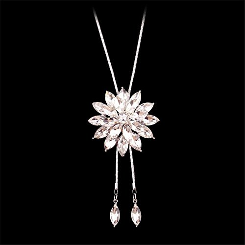 2eea88f58a4 Meolin Fashion Flower Diamond Pendant Necklace Sweater Chain Long Necklace  Jewelry