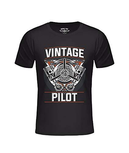T-shirt AC Vintage Pilot zwart, vliegtuigpiloot