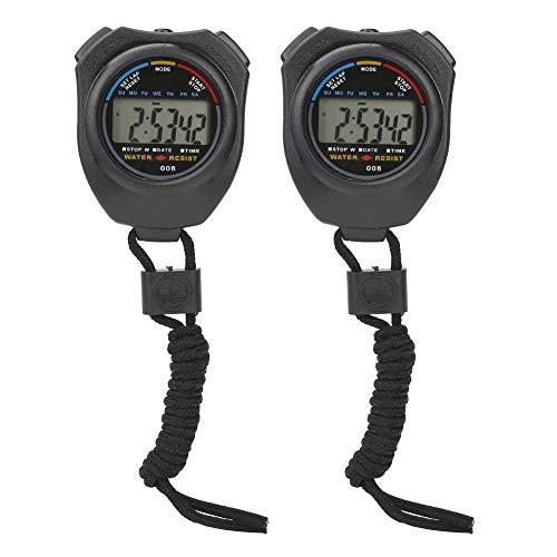 Furnoor Cronómetro Temporizadores 2 PCS Cronómetro Deportivo Temporizador, Multifuncional LCD Digital Cronómetro de Mano para Correr/Correr Preciso