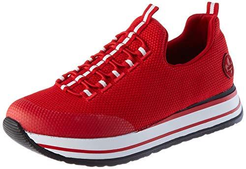 Rieker Damen N3574 Sneaker, Clear/Flamme/Rosso 33, 37 EU