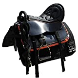 XMXM Racing Saddle Horse Saddle Set Horse Soft Black Skin Horses Equipment Saddle Movimiento Sillín Seguridad Handrail Cushioning Sólido Durable para Ecuestre Cross-Count