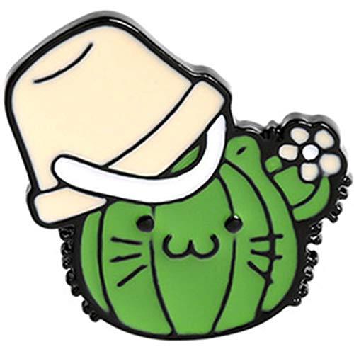 Canghai Broche de planta verde con forma de gato de dibujos animados, bolsa de tela vaquera, diseño de planta verde salvaje (02)