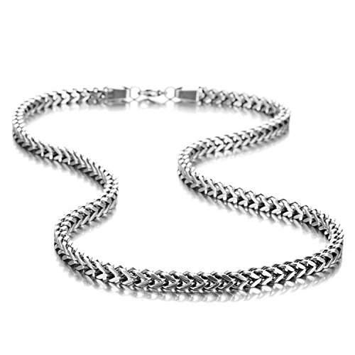 Stunning Mechanic Style Stainless Steel Silver Men's Necklace Link Chain (19 inch)