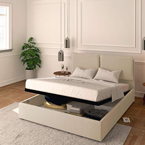 Baldiflex Cama individual con contenedor modelo Licia de tela, somier de láminas, para colchones individuales, 90 x 200 cm, cabecero de lujo acolchado, color beige
