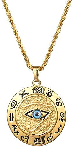 YZXYZH Collar Antiguo Egipto El Ojo De Horus Collar Pendientes para Mujeres Y Hombres Joyas Redondas En Acero Inoxidable Dorado