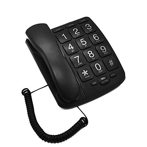 APROTII Teléfonos fijos amplificados con botón grande para personas mayores, perfectos para baja visión y ayudas con discapacidad auditiva con manos libres, altavoz fuerte, teléfono fijo