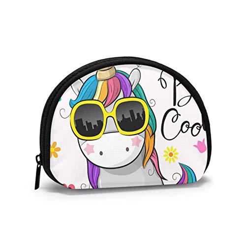 Lindo Unicornio de Dibujos Animados con Gafas de Sol Mujeres niñas Shell cosmético Maquillaje Bolsa de Almacenamiento al Aire Libre Compras Monedero Organizador de Cartera