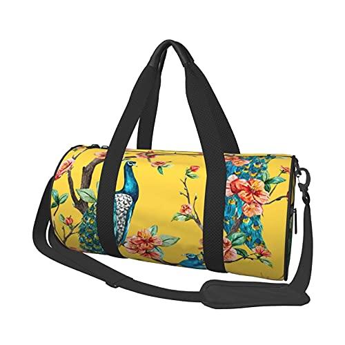 Bolsa de viaje, bolsa de deporte, soporte de pavo real, redonda, bolsa de almacenamiento, bolsa de fin de semana, para hombre y mujer