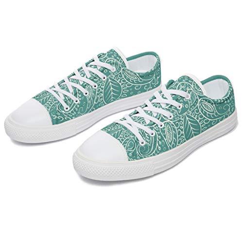 RNGIAN - Zapatillas de Lona para Mujer, diseño de Mandala de Color Cian