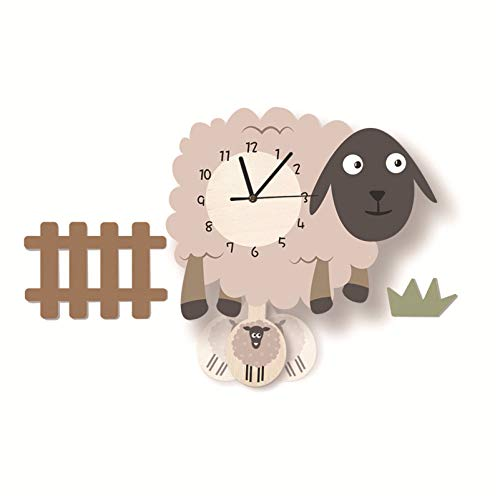 SWECOMZE Kinder-Wanduhr, Schaf-Wanduhr aus Holz, Uhr ohne Tickgeräusche, Lautlos Uhrwerk, Kinderuhr, Wanddeko für das Kinderzimmer