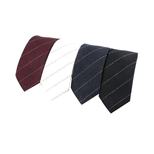 Houlife Men's Cotton Solid Stripe Skinny Tie Slim Necktie For Wedding Party (Pattern 2)