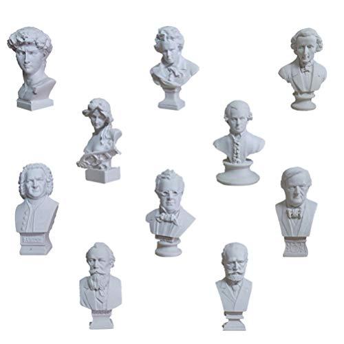 EXCEART 10 Piezas Mini Figuras de Mitología Griego Estatua de Resina Escultura de Famosa Figura de Busto Casa Oficina Arte Decoración