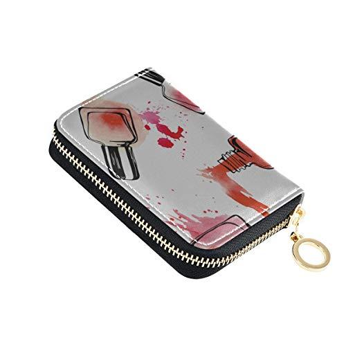 Leder Kreditkarteninhaber Bunte Kunst Mode Nagellack Kartenhalter Geldbörse ändern Pu Leder Zip-Around kompakte Größe Karten Brieftasche Pup Up für Frauen Damen Mädchen Minimalist Akkordeon Brieftasc