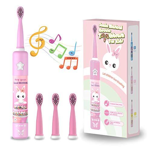 Musikalische Elektrische Zahnbürste für Kinder, Wiederaufladbare Intelligent Karikatur Zahnbürste für Kinder Alter 3-12 mit 2 Minuten Timer,3 Modi, 4 Bürstenköpfe(Rosa)