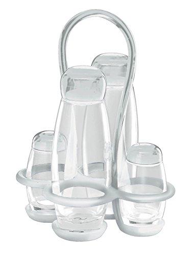 Guzzini Menage Set Olio Aceto Sale E Pepe Gocce, Trasparente, 17 X 15 X H22.5 Cm