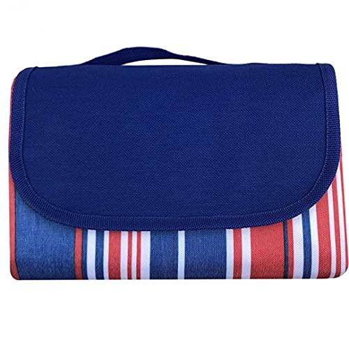 SouiWuzi Picknick-Decke-Matte Camping Faltbare Teppich mit Rot, Blau Streifen-Mustern 145x200CM Haushaltswaren