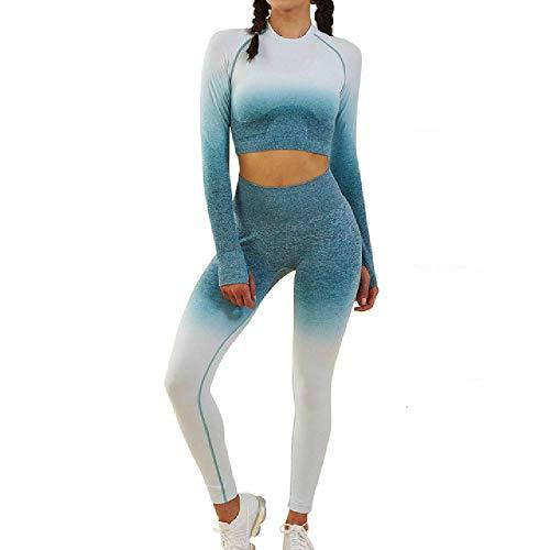 ZLYCP Damen Yoga-Set Ombre Nahtlose Leggings Gym Hose Sport BH Fitness Langarm Crop Top Workout Kleidung Anzug Laufen Sportbekleidung Gr. Small, Wglt013v