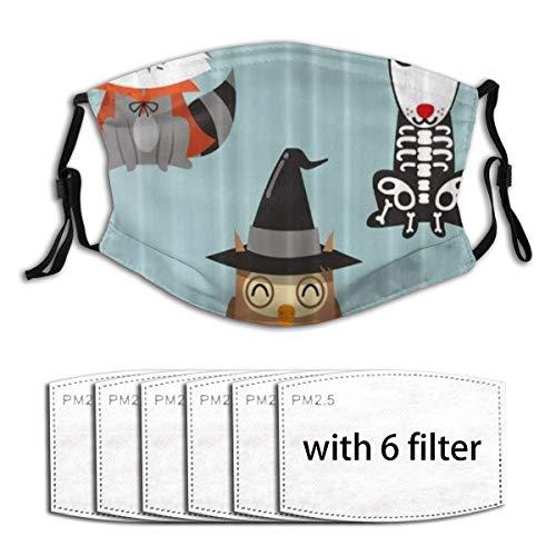 ZORMIEY Halloween Tiere Waschbär Eule und Hund Cartoon Skelett Unisex waschbare Mundhülle mit Filter Anti-Staub Wiederverwendbarer Mundschutz mit 6 Filtern