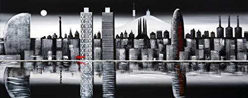 Cuadro Pintado Skyline Barcelona de Noche 150x60 cm 100% Original
