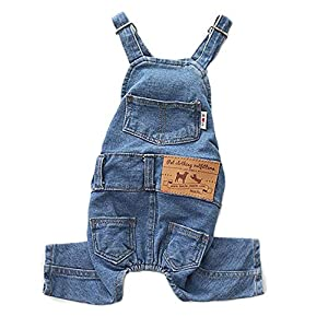 PetBoBo Dog Clothes Costumes, Pet Jean Overalls Clothes Pet Fashion Pants 5 Sizes Optional