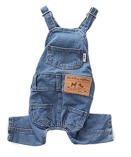 PetBoBo Dog Clothes Costumes, Pet Jeans Overalls Clothes Pet Fashion Pants 5 Sizes Optional XXL