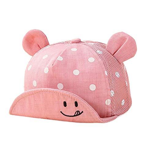 TENDYCOCO Gorra de béisbol para bebés Sombrero de ala Infantil Sombrero de Malla Transpirable de Punto Redondo de Partten para niños de 6-30 Meses (Rosa)