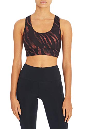 Jessica Simpson Sportswear Women's Mackenzie High Impact Sport Bra, Black Mystic Zebra, Large