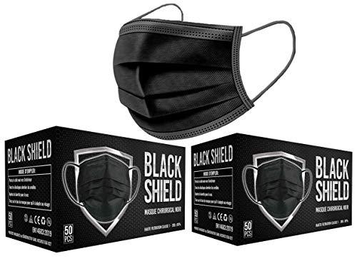 BLACK SHIELD - 100 unidades - Mascarilla Quirúrgica Tipo I Negra - Certificación CE - 3 capas - Filtración BFE > 95%.