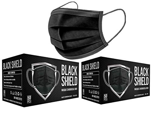 BLACK SHIELD - 100 unidades - Mascarilla Quirúrgica Tipo I Negra - Certificación CE - 3 capas - Filtración BFE  95%.