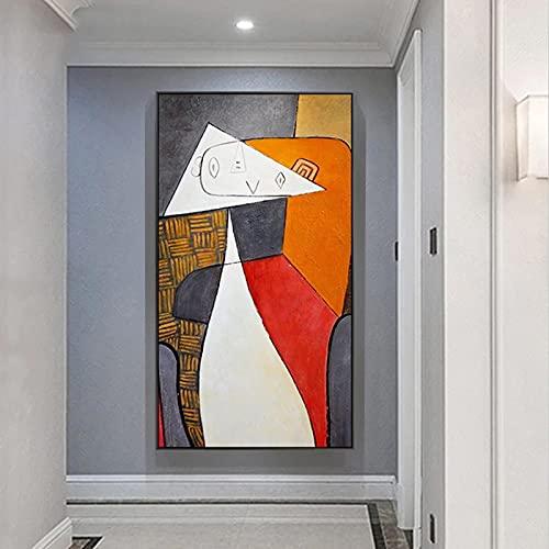 Pinturas abstractas Cuadros en lienzo de Picasso Famosas reproducciones de arte abstracto Carteles e impresiones para la decoración de la sala de estar 80x125cm (31.5x49.2in) Marco interno