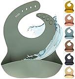Silikon Baby Lätzchen mit Auffangschale | Silikonlätzchen Sage für Junge/Mädchen | BPA-frei, Ergonomisch, Wasserdicht, Abwaschbar & leicht zu reinigen (Sage, Salbeigrün)