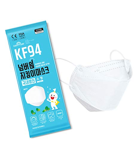 HAPPYDAY KF94マスク 子供用 25枚入り 4層構造 高機能性 不織布マスク 衛生マスク 小型 白 立体構造 使い捨て 柳葉型マスク 韓国製