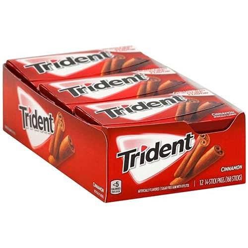 Trident Sugar Free Gum Cannella 14 Bastoncini ROSSO (12 Pack) Prodotto Americano