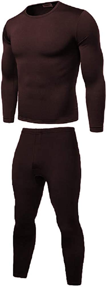 Mens Thermal Underwear Sets Fleece Lined Warm Thick Top and Bottom 2pcs Slim Winter Boys Baselayer Sets