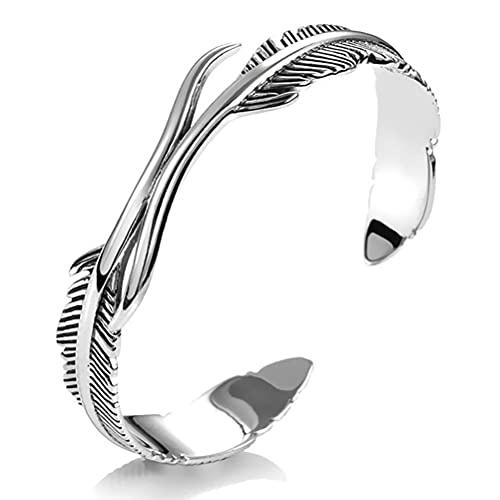 Hosuho Pulsera de plata de la pluma, pulseras ajustables del puño joyería retro del estilo para unisex